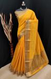Yellow color soft khadi silk saree with golden zari border