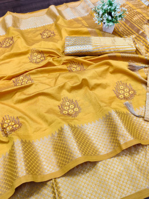 Yellow color assam silk saree with embroidery work