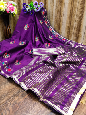 Magenta color cotton silk saree with embroidery work