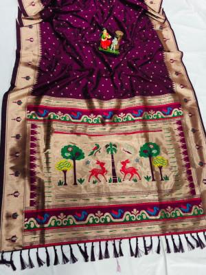 Magenta color soft lichi silk saree with weaving work