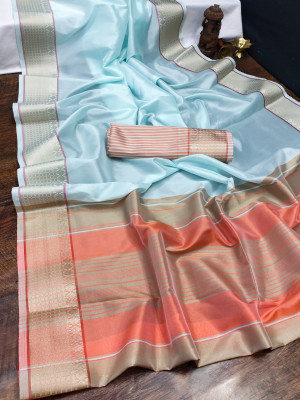 Sea green  color organza silk saree with woven work