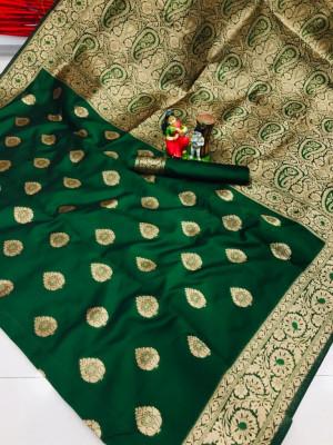 Green color soft banarasi silk saree with weaving work