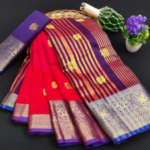 Red color soft cotton silk saree with rich pallu