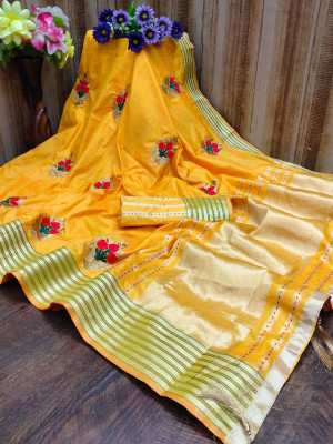 Yellow color soft assam silk saree with embroidery work