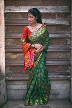 Green color Banarasi silk weaving Patola saree