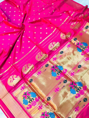 Pink color kanchipuram silk saree with golden zari weaving work