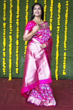 Pink color kanchipuram silk saree with zari weaving work