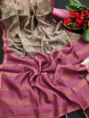 Cotton silk digital printed saree with zari woven border