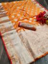 Orange color Lichi silk Zari weaving work saree