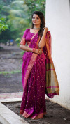 Soft cotton silk saree with jacquard weaving buttis