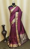 Soft satin silk saree with zari woven work