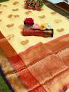 Soft linen silk saree with zari woven work