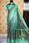 Handloom linen saree with digital printed zari woven pallu