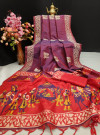 Soft raw silk two tone weaving saree