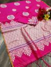 Pink color soft cotton silk weaving work saree