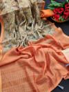Cotton silk digital printed saree with zari woven border
