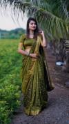 Mehndi green color soft cotton silk saree with jacquard weaving buttis