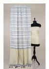 Linen saree with zari woven pallu