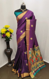 Purple color Paithani silk zari work saree