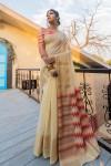 Chanderi cotton saree with ikat woven pallu
