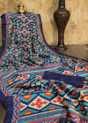 Raw silk saree with ikat printed contrast pallu