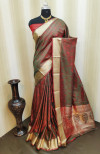 Soft satin silk saree with zari woven work