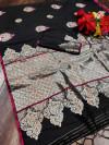 Black color soft cotton silk weaving work saree