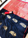 Kanchipuram silk handloom saree with silver and golden zari work