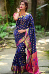 Soft banarasi silk weaving meenakari saree with zari work