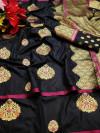 Black color cotton silk saree with gold zari weaving work
