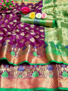 Soft banarasi silk saree with woven work