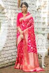 Soft banarasi katan silk saree with zari weaving pallu and border