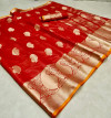 Linen silk saree with woven work