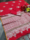 Red color soft cotton silk weaving work saree