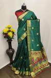 Green color Paithani silk zari work saree