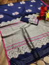Navy blue color soft cotton silk weaving work saree