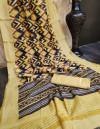 Linen cotton saree with zari woven border