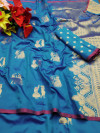 Cotton silk saree with gold zari weaving work