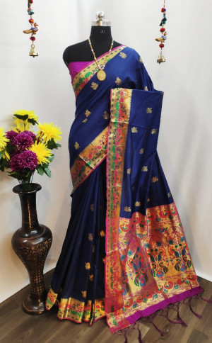 Paithani silk saree with weaving pallu