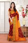 Maroon and orange color hand bandhej bandhani saree