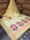Yellow color linen saree with zari weaving border