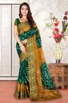 Dark green and mustard yellow color hand bandhej bandhani saree