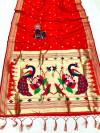 Red color paithani silk saree with attractive zari weaving pallu