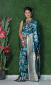 Rama green color soft kanchipuram silk saree with golden and silver zari weaving work