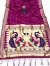 Magenta color paithani silk saree with attractive zari weaving pallu