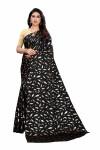 Black color pure satin silk saree