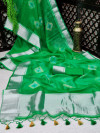 Green color soft organza silk saree with zari weaving bandhani print