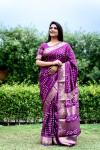 Magenta color pure hand bandhej bandhani saree