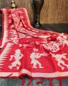 Red color raw silk saree with zari woven contrast pallu
