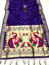 Purple color paithani silk saree with attractive zari weaving pallu